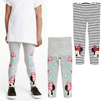 Girls Kids Children Minnie Mouse Striped Leggings Skinny Slim Pants Trousers US