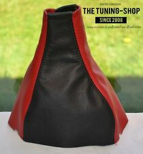 FOR VAUXHALL OPEL CORSA B TIGRA GEAR STICK GAITER BOOT 100% LEATHER BLACK & RED