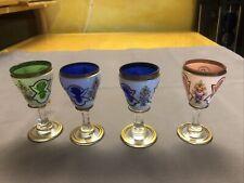 Vier kleine Kelche, Porzellan auf Glas, Rarität, Asiatika ?