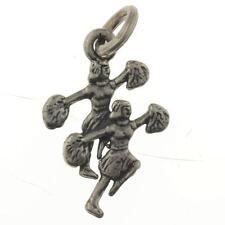 Vintage Sterling Silver Cheerleader Charm for Bracelet or Pendant 925 1.0g D149