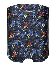 NEW DOLCE & GABBANA Phone Case Blue Football Pattern Leather Silver Logo