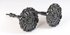 Pair Of Black Large ROSE FLOWER Metal Stem Curtain Holdbacks NEW