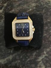 Joan River's Classic Watch With Rhinestone Accents & Blue Leather Strap