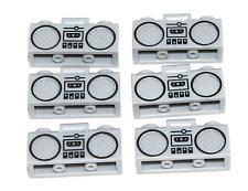 LEGO LOT OF 6 NEW LIGHT BLUISH GREY BOOM BOX RADIO STERIO PARTS BLACK TRIM