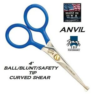 """TP/ANVIL PRO PET Dog Cat Grooming 4"""" SAFETY/BLUNT/BALL END CURVED SHEAR SCISSOR"""