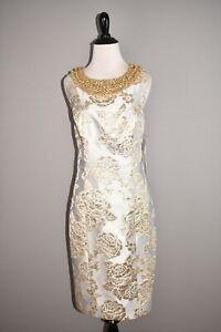 BADGLEY MISCHKA NEW $595 Floral Embossed Sheath Dress Rhinestone Accents Size 10