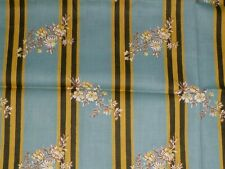 """Vtg 40s Cotton Fabric Gray w/ Stripes Gold Flowers Blossoms 35"""" x 1.33 yds"""