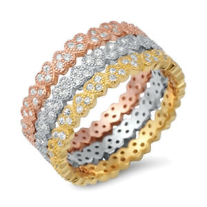 Tri Tone Heart Style Eternity Gold, Rose gold and Sterling Silver CZ 3 Ring Set