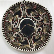 "Adult Vintage Pigalle XXXXX Black Red Velvet Large Mexican SOMBRERO Hat Rare 23"""