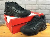 NIKE UK 5 EU 38 AIR MAX 95 RECRAFT BLACK LEATHER TRAINERS CHILDRENS LADIES LB