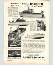 1954 PAPER AD Barbour 21' Sportsman Runabout 25 HP Johnson Motorboat Boat
