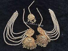 Indian/ Pakistani Hollywood Designer Big Size Jhumki And Tikka Jewellery Set