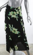 PROENZA SCHOULER Black + Green Floral GEORGETTE Button Long Maxi Skirt 6 NEW