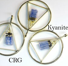 Gold Plated Triangle In Ring w/ KYANITE Point Dangle Pendant (TR7BT)