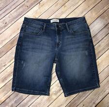 Calvin Klein Womens Denim Jean Bermuda Shorts Size 14 Distressed