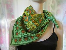 """Made in Japan 100% Acetate Scarf  Paisley w Floral Shades of Green  26 """" x 26 """""""