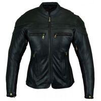 Bikers Gear Ladies Sturgis Motorcycle Crusier CE Armour Cowhide Leather Jacket