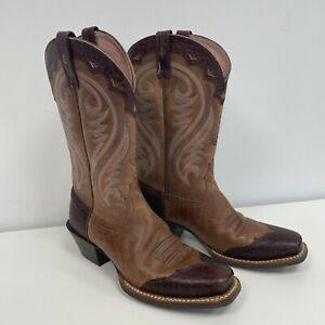 Ariat Western Boots UK 4 Ladies Brown Quality Footwear Square Toe Cowgirl Cowboy