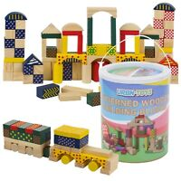 100pc Classic Wooden Construction Building Blocks Bricks Kids Toy Set Xmas Gift
