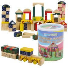100pc Classic Wooden Construction Building Blocks Bricks Kids Toy Set Xmas Gift