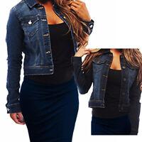 Women Stretch Denim Full Long Sleeve Jacket Coat Ladies Jean Cropped Biker Vest