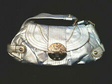 Kathy Van Zeeland Handbag Purse Satchel Bag Metallic Blue silver Shoulder READ