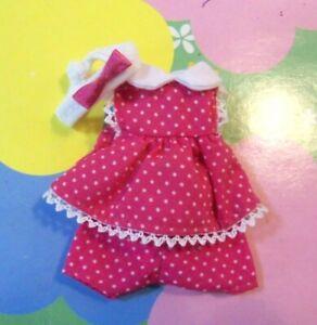 Kelly Chelsea Doll Clothes *3pc Burgundy Polka Dot Dress Shorts Headband*