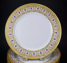 8 Gorgeous JPL Pouyat Limoges Blue Flower Heavy Gold Encrusted Dinner Plates