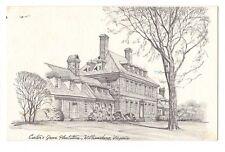 CARTER'S GROVE PLANTATION Williamsburg Virginia Postcard  B&W Art Drawing 1979