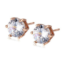 Vintage 7mm Womens Crystal Rose Gold Filled Stud Earrings Statement Jewelry Gift