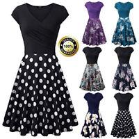 Summer New Casual Womens Short Sleeve V- Neck Vintage Elegant Party A-Line Dress