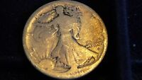 1916-D WALKING LIBERTY SILVER HALF DOLLAR IN GOOD CONDITION C-19-17