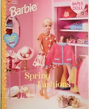 BRAND NEW BARBIE PAPER DOLL BOOK W/BARBIE PAPER DOLL +SPRING FASHION,GOLDEN BOOK