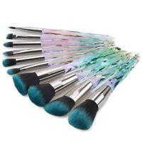 10pcs Crystal Makeup Brushes Set Foundation Powder Eye Shadow Blending Brush Kit