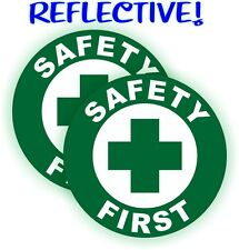 (2) REFLECTIVE Safety First Hard Hat Decals / Construction Helmet Stickers Badge