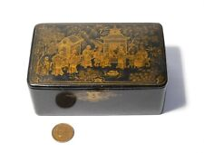 More details for antique chinese chinoiserie lacquered papier mache table trinket snuff box