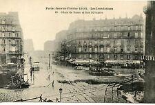 CARTE POSTALE / PARIS JANVIER 1910 LES INONDATIONS PLACE DE ROME ET ST. LAZARE