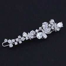 USA Hair Clip use Swarovski Crystal Hairpin barrette Wedding Silver Butterfly 06