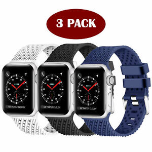 3 Pack Multi-Color Rubber Replacement Sport Watch Band for iWatch Series 4/3/2/1