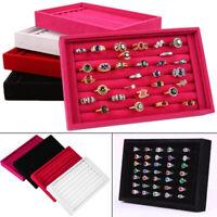 Velvet Jewelry Earring Ring Display Organizer Box Tray Holder Wood Storage Case