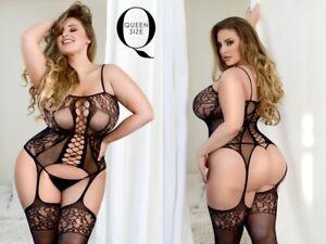 Bodysuit Body Stocking Queen PLUS Size Lingerie Mesh Fishnet Garter Sexy Stretch