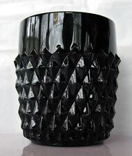 """Tiara Indiana Glass Black Cameo Diamond Point 9 oz """"On The Rocks"""" Tumbler"""