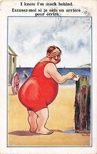 POSTCARD  COMIC  Fat  Man  Seaside  I  know I'm  much behind