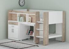 Single Midi Sleeper Bed with Desk, Cabinet and Bookshelves – Sonoma Oak & White