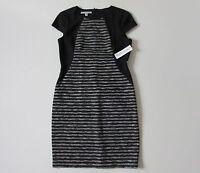 NWT Maggy London Gray Space Dye & Black Striped Colorblock Sheath Dress 12