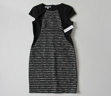 NWT Maggy London Gray Space Dye & Black Striped Colorblock Sheath Dress 12