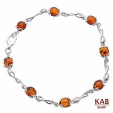 Cognac Baltic Amber Sterling Silver 925 Jewellery Bracelets Beauty, Kab-118
