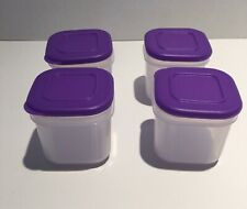 Tupperware Cool Square Mini Cube Handy container Purple tops 4-pc 200 ml New