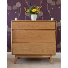 Retro Oak Chest of Drawers in Natural Finish with 3 Drawers