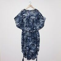 City Chic Womens Plus Size S Small Blue White Abstract Zebra Tie Up Sheer Dress